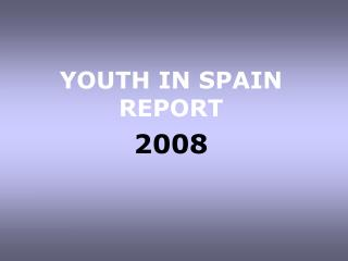 YOUTH IN SPAIN REPORT  2008