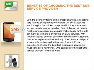 Benefits of choosing the best SMS service provider