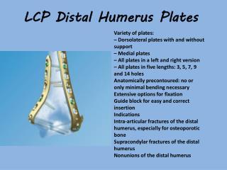 LCP Distal  Humerus  Plates
