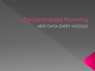 Decentralized Planning