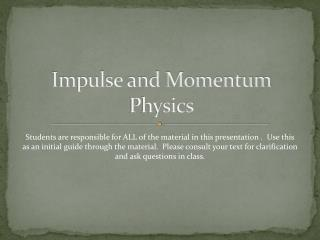Impulse and Momentum Physics