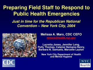 Preparing Field Staff to Respond to  Public Health Emergencies