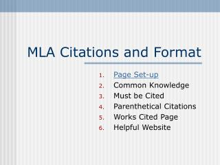 MLA Citations and Format
