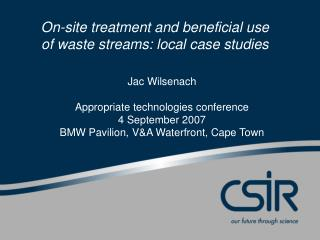 Jac Wilsenach Appropriate technologies conference 4 September 2007