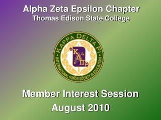 Alpha Zeta Epsilon Chapter Thomas Edison State College