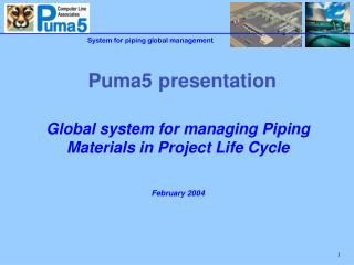 Global system for managing Piping Materials in Project Life Cycle  February 2004