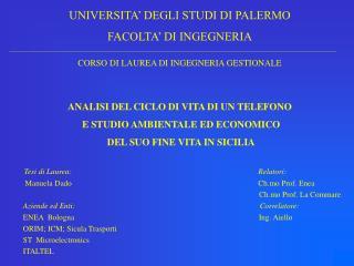 UNIVERSITA� DEGLI STUDI DI PALERMO FACOLTA� DI INGEGNERIA