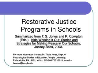 Restorative Justice Programs in Schools