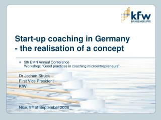 Start-up coaching in Germany  - the realisation of a concept