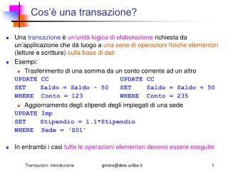 Cos'è una transazione?