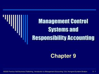 Management Control Systems and Responsibility Accounting