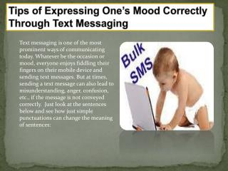 Tips of Expressing One�s Mood Correctly Through Text Messagi