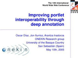 Improving portlet interoperability through deep annotation