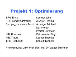 Projekt 1: Optimierung