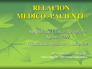 RELACION  MEDICO -PACIENTE