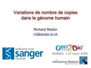 Variations de nombre de copies  dans le génome humain