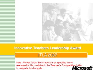 Innovative Teachers Leadership Award ITLA 2007
