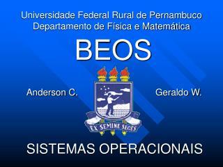 Universidade Federal Rural de Pernambuco  Departamento de Física e Matemática