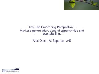 The Fish Processing Perspective �  Market segmentation, general opportunities and eco-labelling.