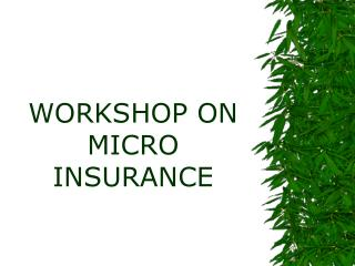 WORKSHOP ON    MICRO INSURANCE