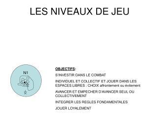 LES NIVEAUX DE JEU