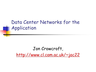 TCP for Data center networks