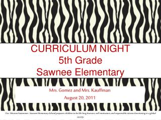 CURRICULUM NIGHT 5th Grade Sawnee Elementary