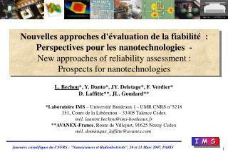 Nouvelles approches d'évaluation de la fiabilité  : Perspectives pour les nanotechnologies  -