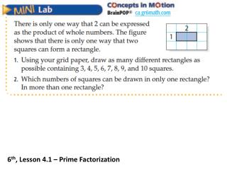 6 th , Lesson 4.1 – Prime Factorization