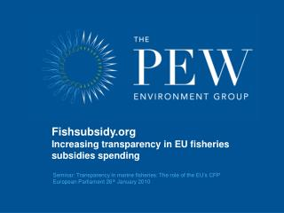 Seminar:  Transparency in marine fisheries: The role of the EU's CFP