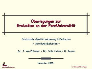 Überlegungen zur Evaluation an der FernUniversität