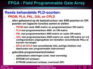 Reeds behandelde PLD-soorten: