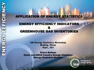 APPlication  of energy statistics energy efficiency indicators & Greenhouse gas inventories