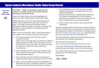 Sybase Industry Warehouse Studio Yahoo Group Started