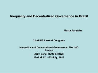 Inequality and Decentralized Governance in Brazil