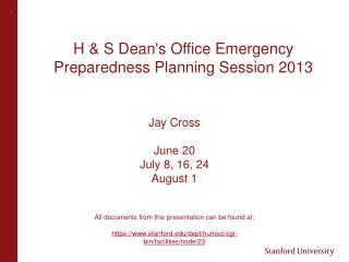 H & S Dean's  Office  Emergency  Preparedness  Planning Session 2013