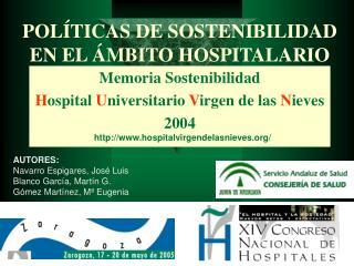 POLÍTICAS DE SOSTENIBILIDAD EN EL ÁMBITO HOSPITALARIO