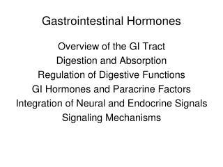 Gastrointestinal Hormones