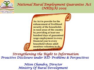 National Rural Employment Guarantee Act  (NREGA) 2005