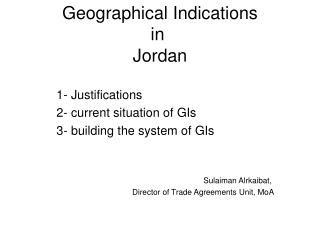 Geographical Indications in  Jordan