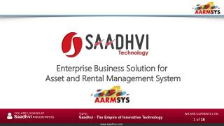 Enterprise Business Solution  for   Asset and Rental Management System