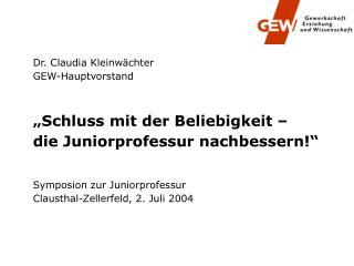 Dr. Claudia Kleinwächter GEW-Hauptvorstand