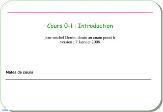 Cours 0-1 : Introduction