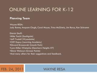 ONLINE LEARNING FOR K-12