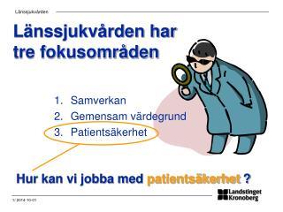 Länssjukvården har tre fokusområden
