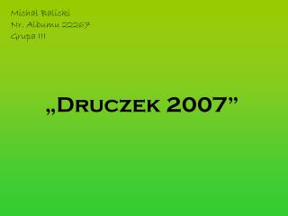 Michał Balicki Nr. Albumu 22267 Grupa III