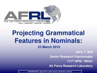 Projecting Grammatical Features in Nominals:    23 March 2010