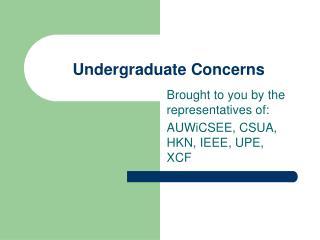 Undergraduate Concerns