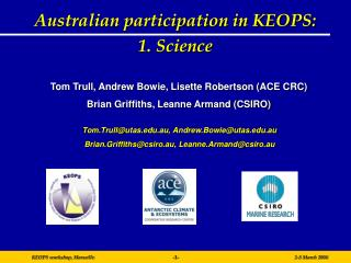 Australian participation in KEOPS:  1. Science