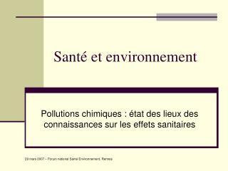 Sant  et environnement